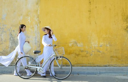 Vietnamese women in traditional clothes ao dai