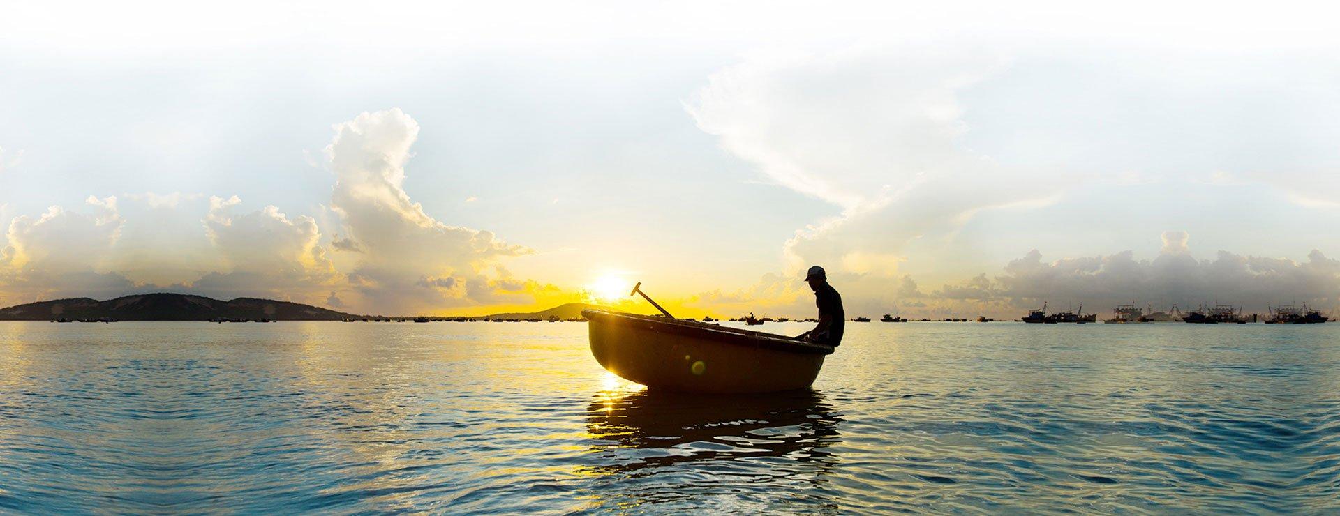 Fisherman at Mui Ne beach, Vietnam