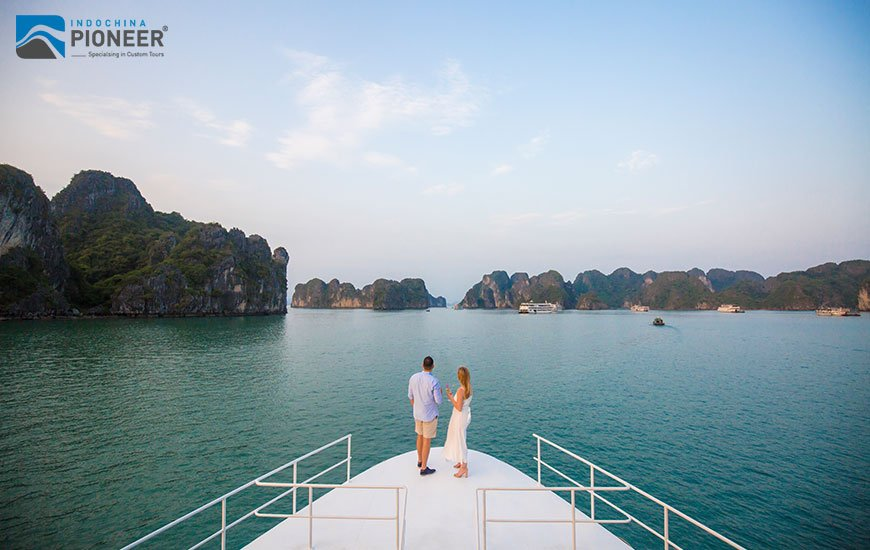 Guests on Halong Bay cruise