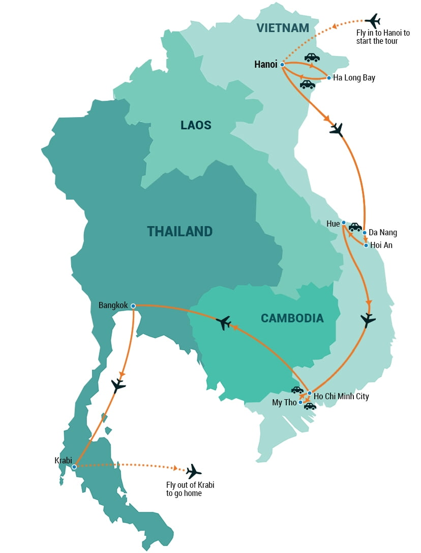 thailand and vietnam map Vietnam And Thailand Tour Indochina Pioneer Tours