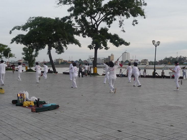 Locals do taichi in the morning